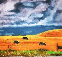 Ekalaka cows grazing before store by victorgroza