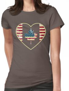 Canadian American Flag Womens Fitted T-Shirt