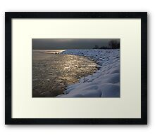 Lily Pad Ice Shines in the Silver Storm Light  Framed Print