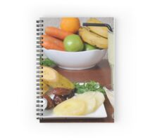 Organic Health Food meal. Fruit, vegetables and a shake drink  Spiral Notebook