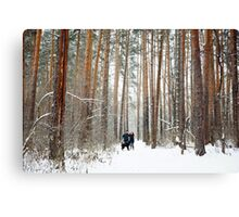 Young Couple with a Dog Having Fun in Winter Canvas Print