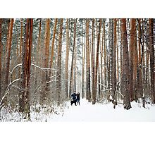 Young Couple with a Dog Having Fun in Winter Photographic Print