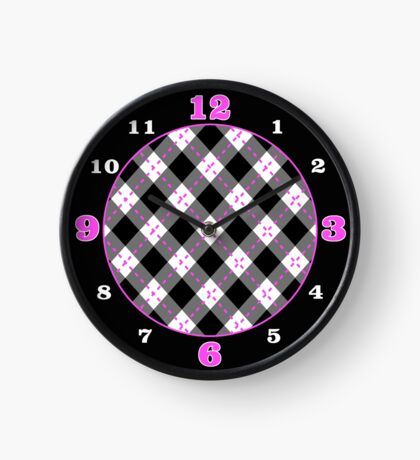 Black and Pink Argyle Clock