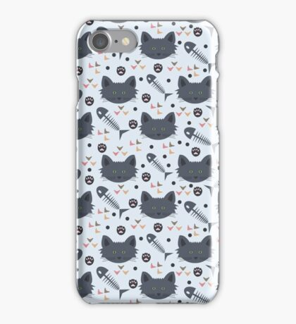 Whiskers black cat pattern  iPhone Case/Skin