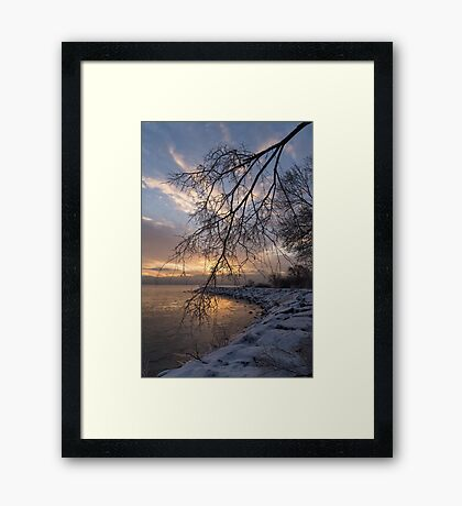 Beautiful Aftermath of an Ice Storm - Sunrise Through Frozen Branches Framed Print