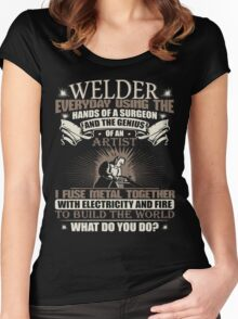 Welding Soft Screen Printed Tshirt Women's Fitted Scoop T-Shirt