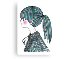 Colorful Cartoon Girl Canvas Print