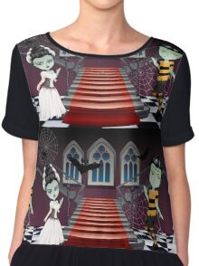 Fashion Zombie Couple near Stairs Chiffon Top