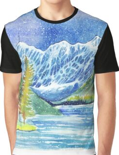 Watercolor mountains winter or autumn landscape. Shavlinskie lakes. Altai. Graphic T-Shirt