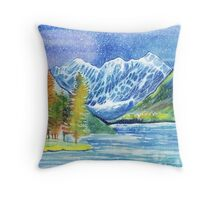Watercolor mountains winter or autumn landscape. Shavlinskie lakes. Altai. Throw Pillow