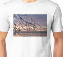 Beautiful Aftermath of an Ice Storm - Branch Pattern on Rosy Blues - Right Unisex T-Shirt