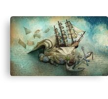 Now I lay me down to read, i travel leagues before i sleep Canvas Print