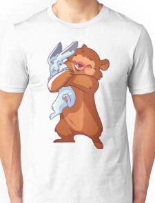 Cute bear hugs rabbit. Unisex T-Shirt