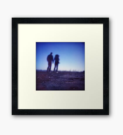 Romantic couple walking holding hands on beach in blue Medium format color negative film photo Framed Print