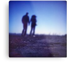 Romantic couple walking holding hands on beach in blue Medium format color negative film photo Metal Print