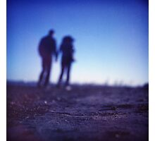 Romantic couple walking holding hands on beach in blue Medium format color negative film photo Photographic Print