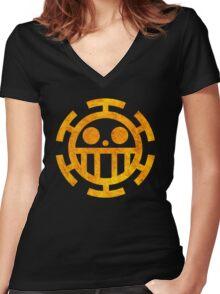 °MANGA° Trafalgar Law Rust Logo Women's Fitted V-Neck T-Shirt