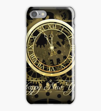Happy New Year background with gold clock iPhone Case/Skin