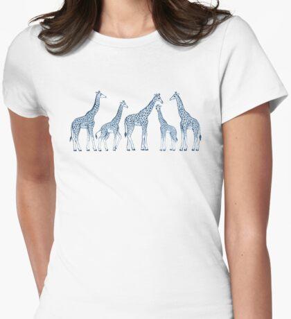 Navy Blue Giraffes on White Womens Fitted T-Shirt