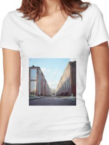 Boarded Up Rowhomes Women's Fitted V-Neck T-Shirt