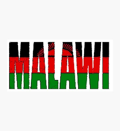Malawi Font with Flag Photographic Print