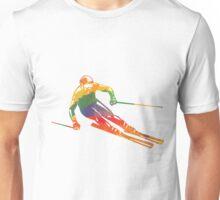 Farbiger Skifahrer Unisex T-Shirt