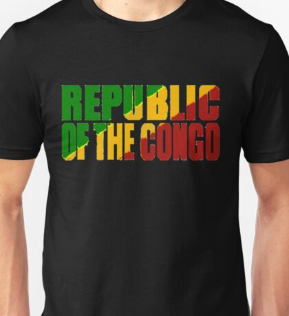 Republic of the Congo Font with Flag Unisex T-Shirt