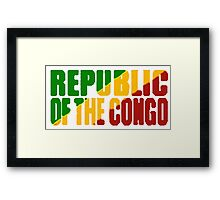 Republic of the Congo Font with Flag Framed Print