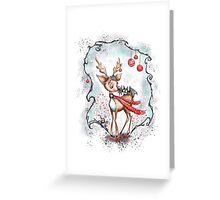 Creepy Cute Christmas Reindeer and Bat Greeting Card