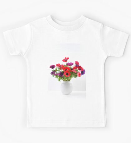 Red and purple Anemone coronaria in a white vase Kids Tee