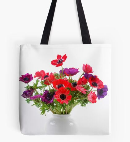 Red and purple Anemone coronaria in a white vase Tote Bag