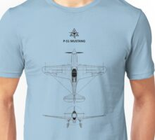 The P-51 Mustang Blueprint Unisex T-Shirt