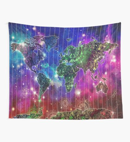 world map mandala space Wall Tapestry