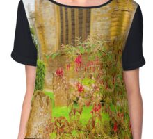 Holy Trinity Church With Flowers & Gravestones Chiffon Top
