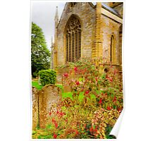 Holy Trinity Church With Flowers & Gravestones Poster