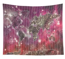 world map mandala space 2 Wall Tapestry