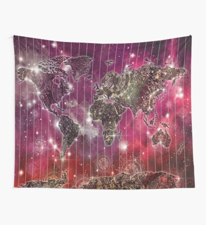 world map mandala space 2 Wall Tapestry
