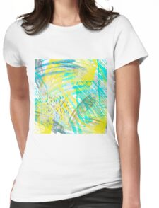 Abstract yellow green pattern Womens Fitted T-Shirt