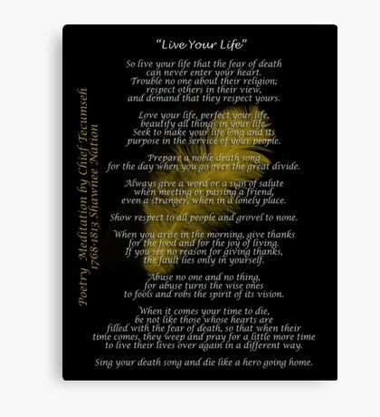 """Live Your Life""  Golden feather by Chief Tecumseh Canvas Print"