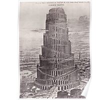 iPhone Case old print ornament embellishment 1884 babel tower Poster