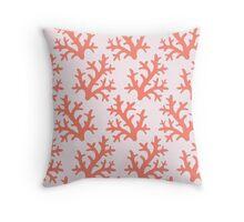 Coral pattern, peach,orange red,white,modern,trendy,marine life, Throw Pillow