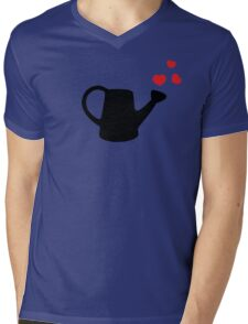 I love my Garden - Watering Can with Red Hearts Mens V-Neck T-Shirt