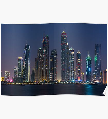 Night cityscape of Dubai Poster