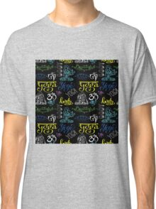 Colorful Yoga seamless pattern with lettering, Classic T-Shirt