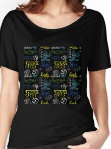Colorful Yoga seamless pattern with lettering, Women's Relaxed Fit T-Shirt