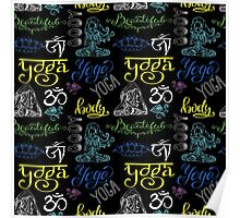 Colorful Yoga seamless pattern with lettering, Poster