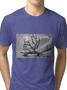 Hunting Island Beach And Driftwood Beaufort SC Black And White Tri-blend T-Shirt
