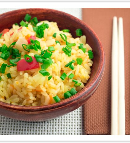 Wooden bowl of cooked rice and vegetables Sticker