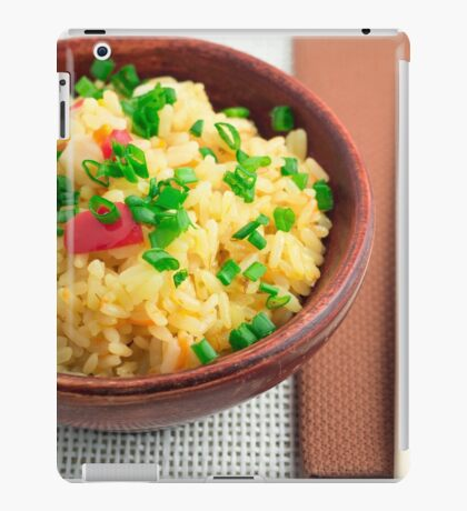 Wooden bowl of cooked rice and vegetables iPad Case/Skin