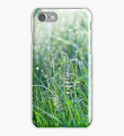 Green Grass with Raindrops iPhone Case/Skin